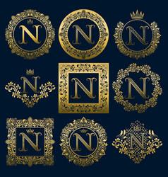 Vintage monograms set of n letter vector