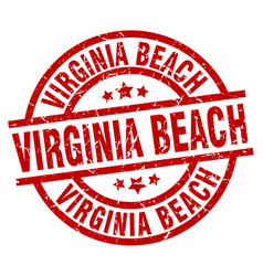 Virginia beach red round grunge stamp vector