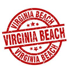 Virginia beach red round grunge stamp vector