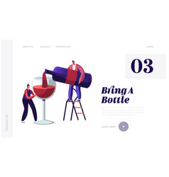 Wine degustation website landing page man pouring vector