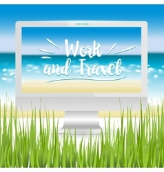 Workplace ocean beach vector