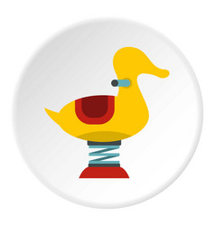 Yellow duck spring see saw icon circle vector