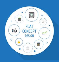 Flat icons teller machine accounting billfold vector