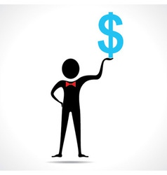 Man holding dollar symbol vector image