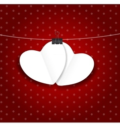 Valentines day paper heart backgroung vector image