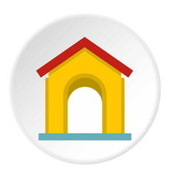 yellow toy house icon circle vector image