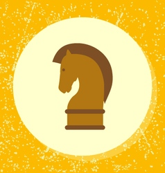 Round icon chess horse piece strategy vector