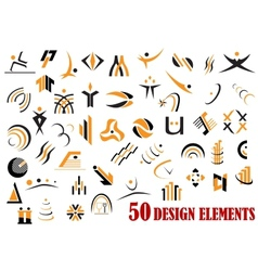 Fifty abstract design elements in black and yellow vector