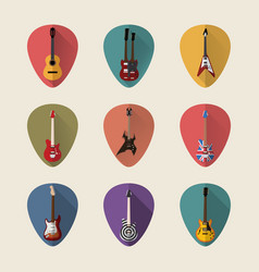 guitars flat icons set vector image