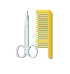 hairdressing scissors and comb isolated on white vector image