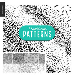 hand drawn black and white 7 patterns set vector image vector image