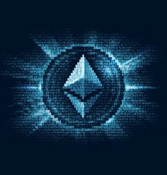 virtual ethereum digital currency consist of vector image vector image
