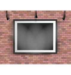 black photo frame on brick wall vector image