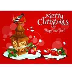 Christmas Day card with lantern holly berry snow vector image vector image
