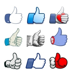 Collection of thumbs Up icons holidays design vector image