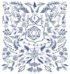 hand drawn decorative floral vintage vector image