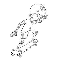 happy cartoon skateboard boy vector image