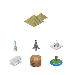 isometric attraction set of athens new york vector image vector image