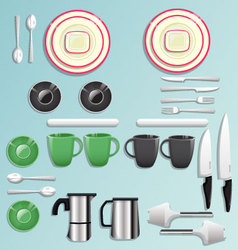 Kitchen equipment and tool icon set vector image