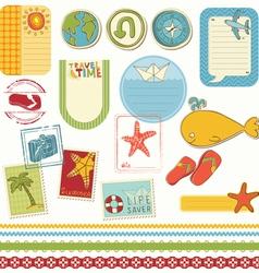 summer holiday scrapbook set vector image vector image