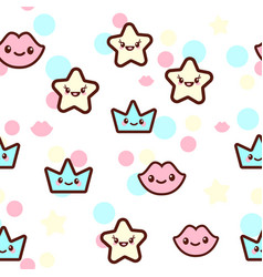 The stars lips and crowns vector