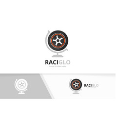wheel and globe logo combination tire vector image vector image