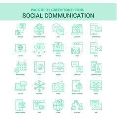 25 green social communication icon set vector image
