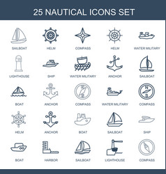 25 nautical icons vector image