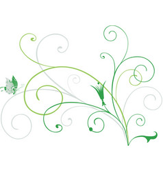 A bunch decorative green tendrils with vector