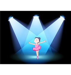 A little girl dancing ballet with spotlights vector image