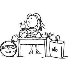 A woman stands at the table and takes food - black vector image