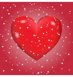 Abstract background of snow with heart vector image