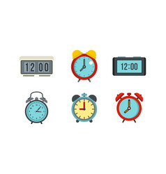 alarm clock icon set flat style vector image