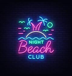 beach nightclub neon sign logo in neon style vector image