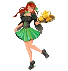 Beautiful woman waiter carries tray with tea vector