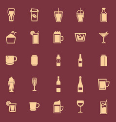 beverage color icons on red background vector image