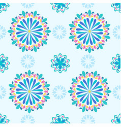 bright mandala pattern in blue with green vector image