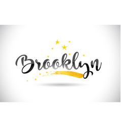 Brooklyn word text with golden stars trail and vector