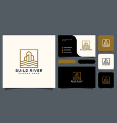 building river logo with business card design vector image