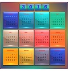 Calendar 2016 Sunday first 12 months vector