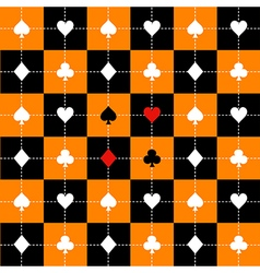Card Suits Orange Black Chess Board Background vector