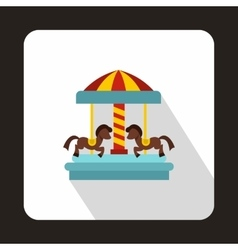 Carousel with horses icon flat style vector
