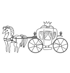 Carriage for princess isolated coloring vector