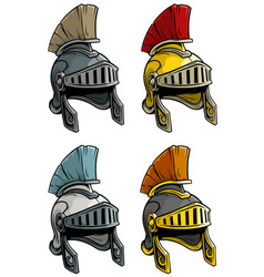 Cartoon ancient roman soldier helmet icon set vector