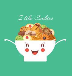 cartoon cookies and kawaii bowl for coffee break vector image
