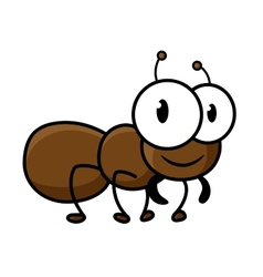 Cartoon cute brown ant character vector image