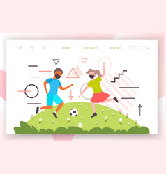 children playing football boy girl in face masks vector image