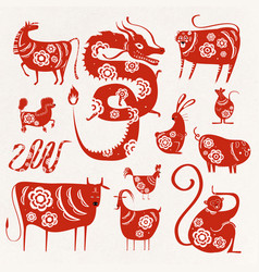 Chinese new year zodiac animals symbol collection vector