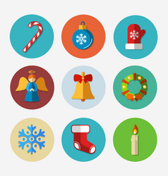 Christmas bright icons collection vector