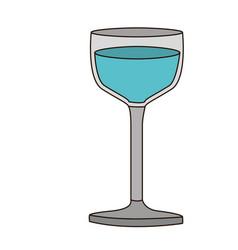 colorful silhouette of glass cup with water and vector image